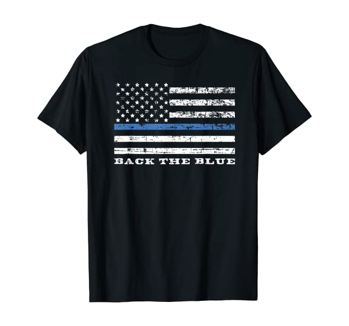 Back the Blue Thin Blue Line American Flag Police Support T-Shirt