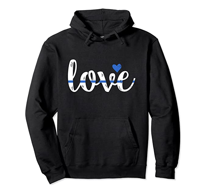 Cute Thin Blue Line Love Design - Police Wife or Girlfriend Pullover Hoodie
