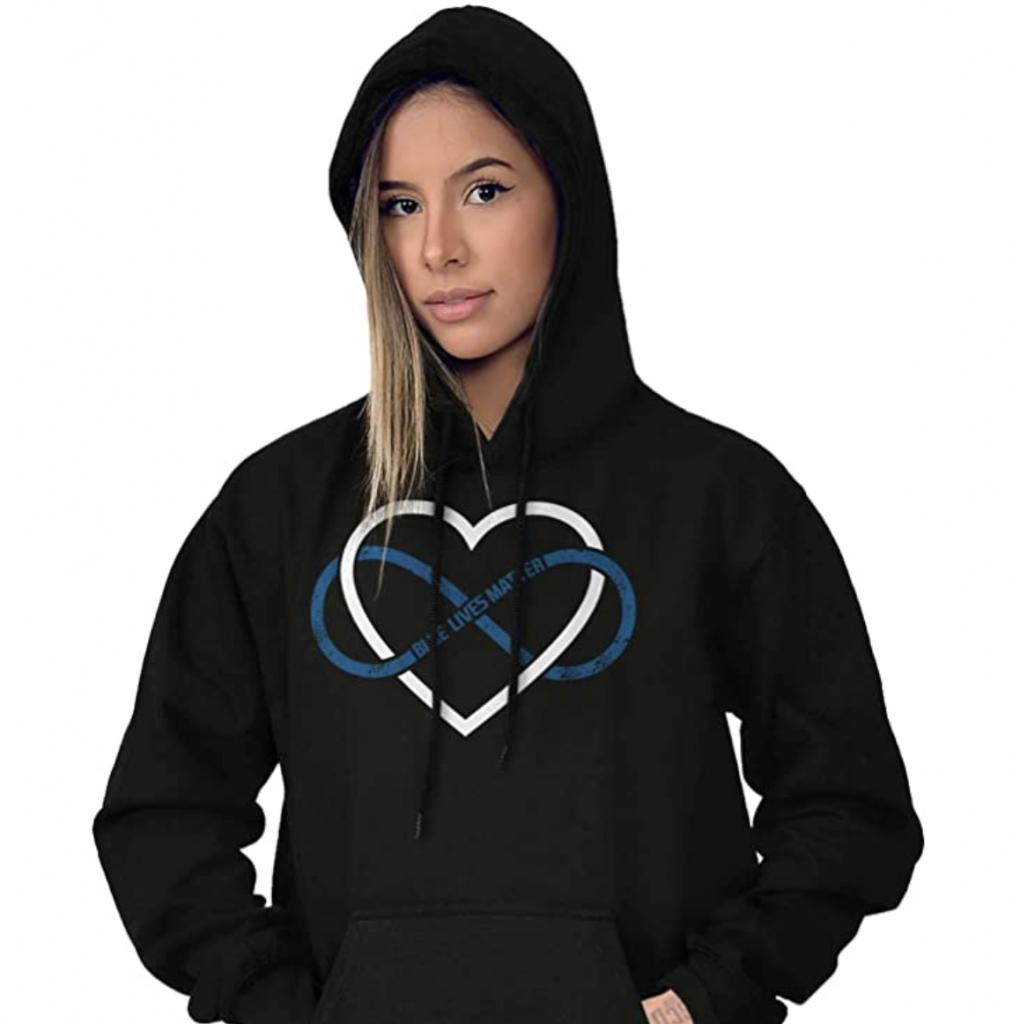 blue lives matter infinity sweatshirt cop apparel for women