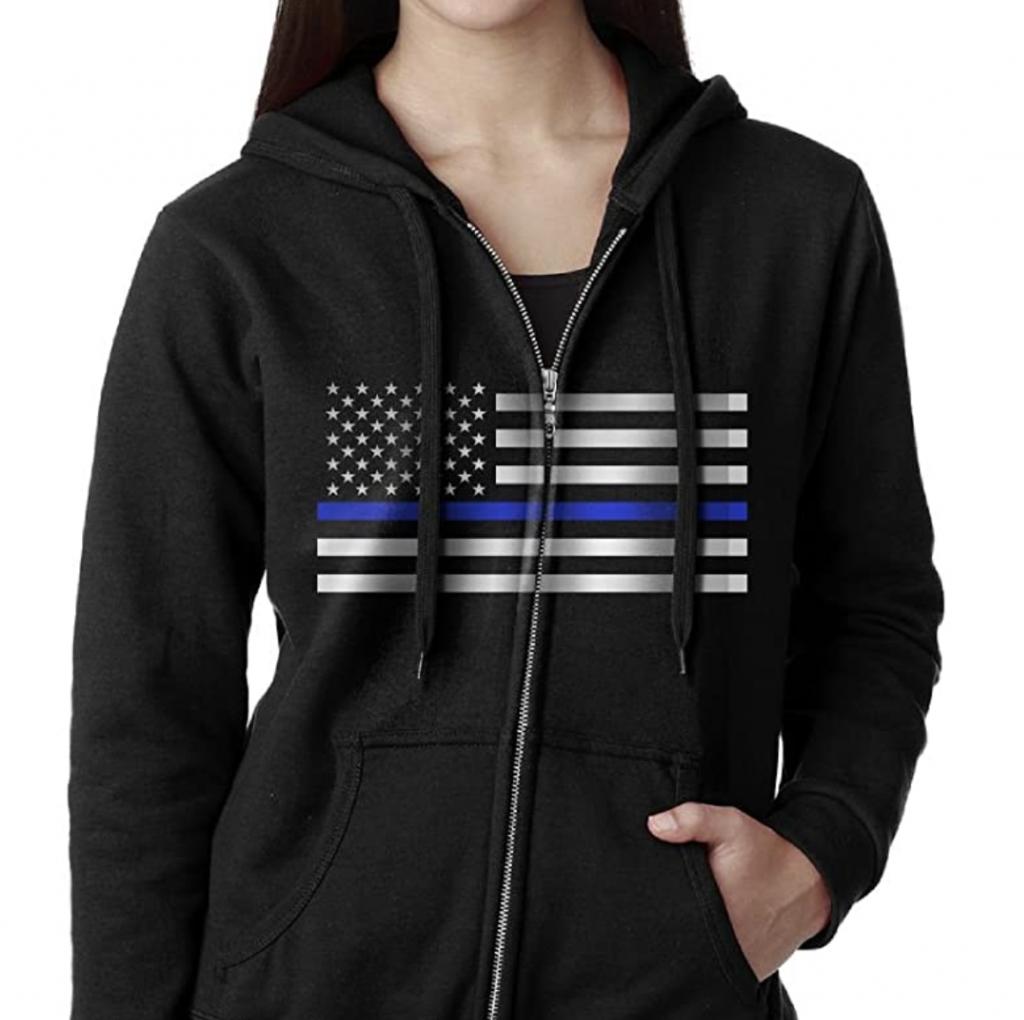 zip up police hoodie for women