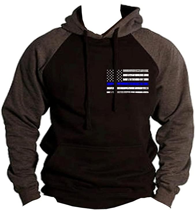 Interstate Apparel Men's Thin Blue Line Police Flag Black/Charcoal Raglan Baseball Hoodie Sweater Black