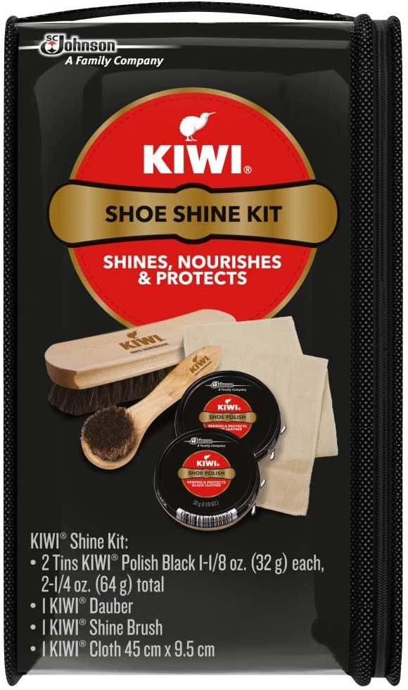 KIWI Black Shoe Shine and Shoe Polish Kit