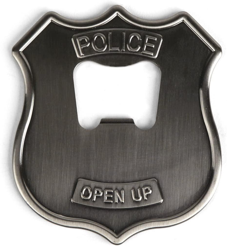 Kikkerland Police Badge Stainless Steel Bottle Opener