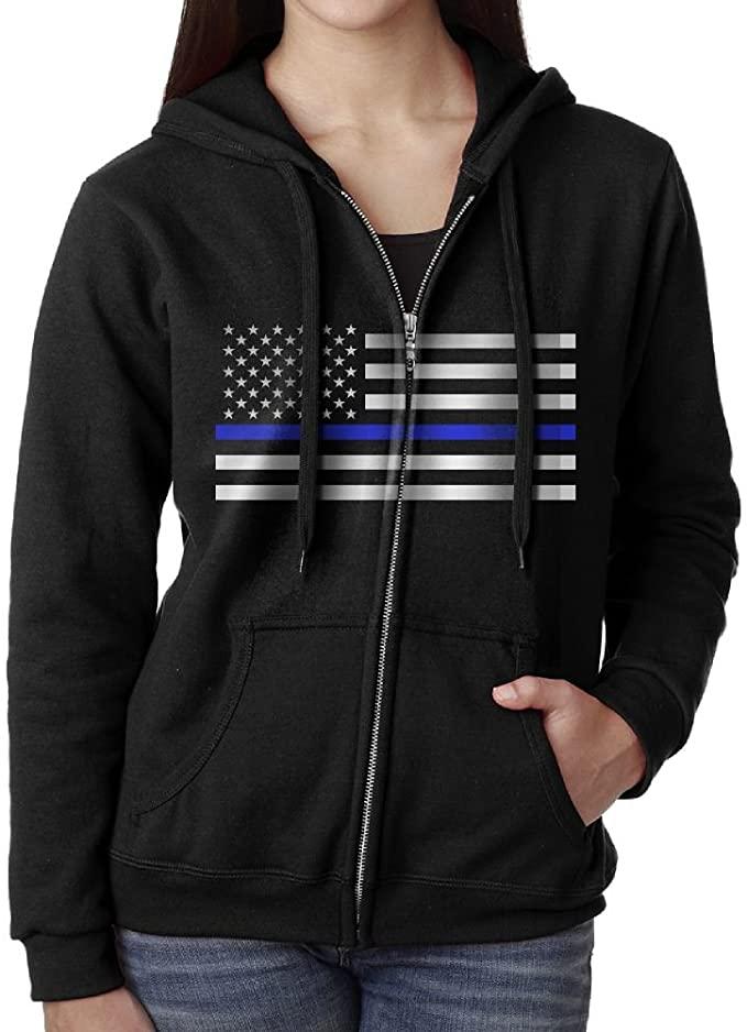 SARA NELL Thin Blue Line USA Flag Pullover Hoodies Fashion Zipper Sweatshirt Jacket Womens Black