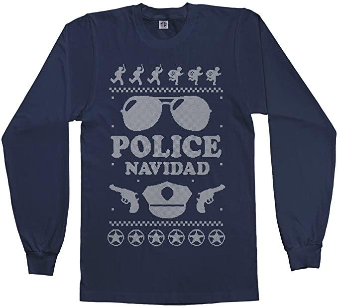 Threadrock Men's Police Navidad (Ugly Sweater) Long Sleeve T-Shirt