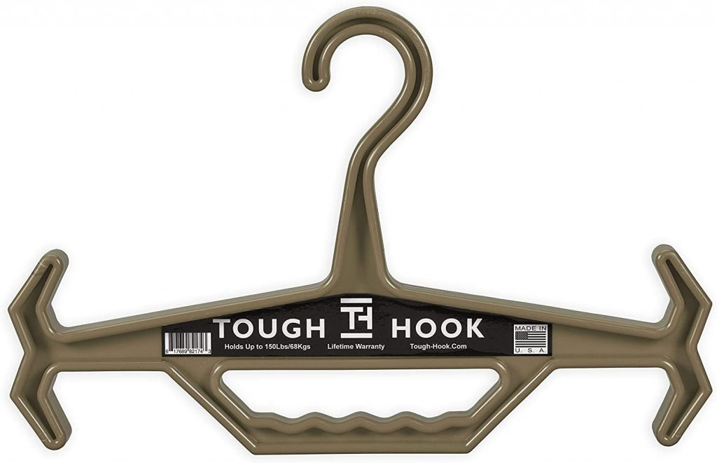 Tough Hook | Heavy Duty Hanger | 150 lb Load Capacity | Hang Scuba Wear, Tactical Equipment, Ballistic Vest, Body Armor, Plate Carrier, Hunting and Motorcycle Gear