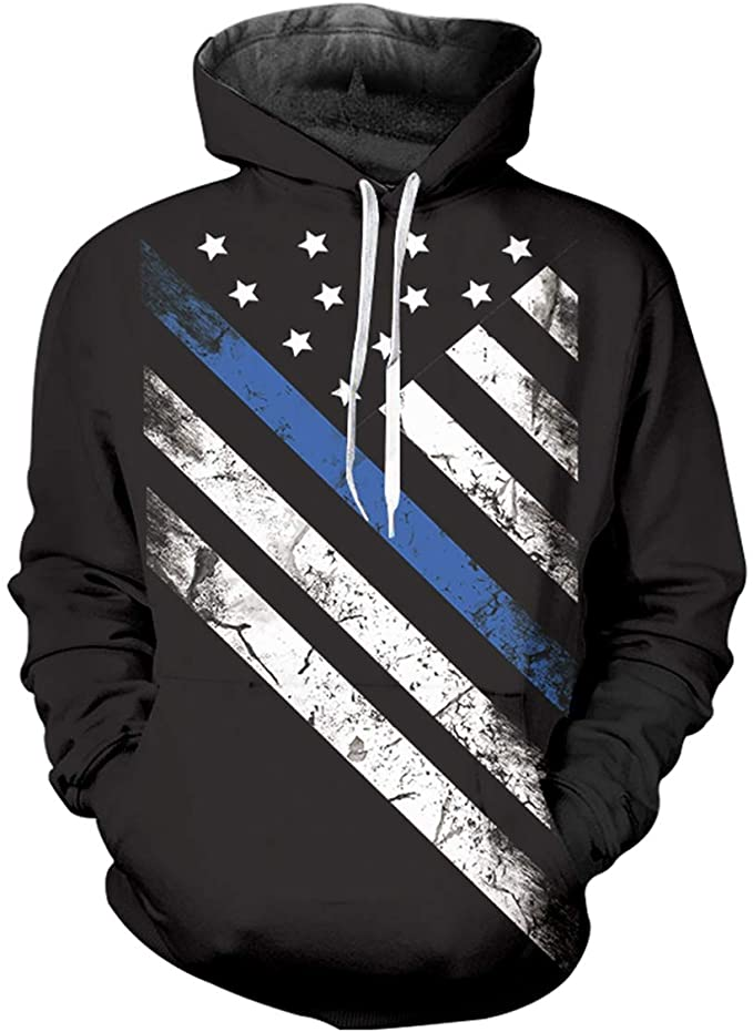 pinata Thin Blue line Printed Pullover Hoodie Men 3D Cool Hooded Sweatshirt Casual Pockets